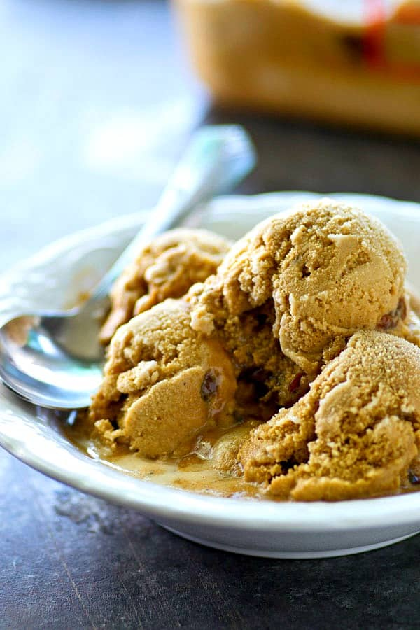Love caramel macchiatos from the coffee shop? This creamy coffee ice cream is going to be your new summer addiction.---Tons of coffee flavor and a ribbon of homemade caramel sauce!