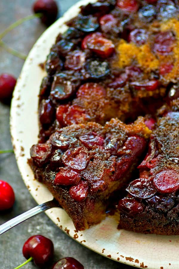 This cherry upside-down coffee cake is the ultimate way to use up all those summer cherries! It's unbelievably moist, packed with juicy cherries, and doubles it's duty as breakfast or dessert!