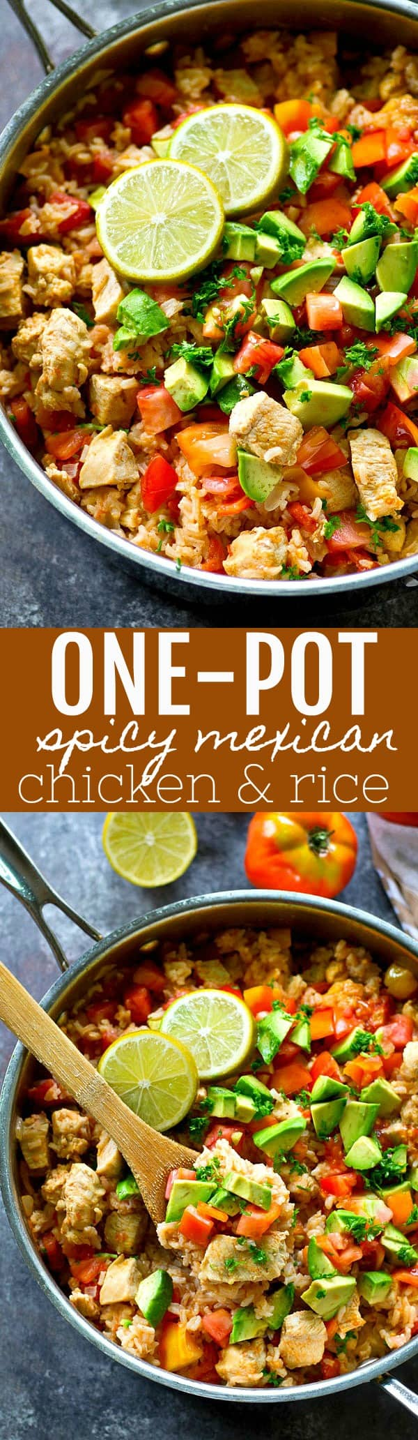 Grab one pot and a handful of ingredients and you've got everything you need to make this 'kickin, flavorful Mexican chicken and rice skillet! The easiest weeknight dinner ever.
