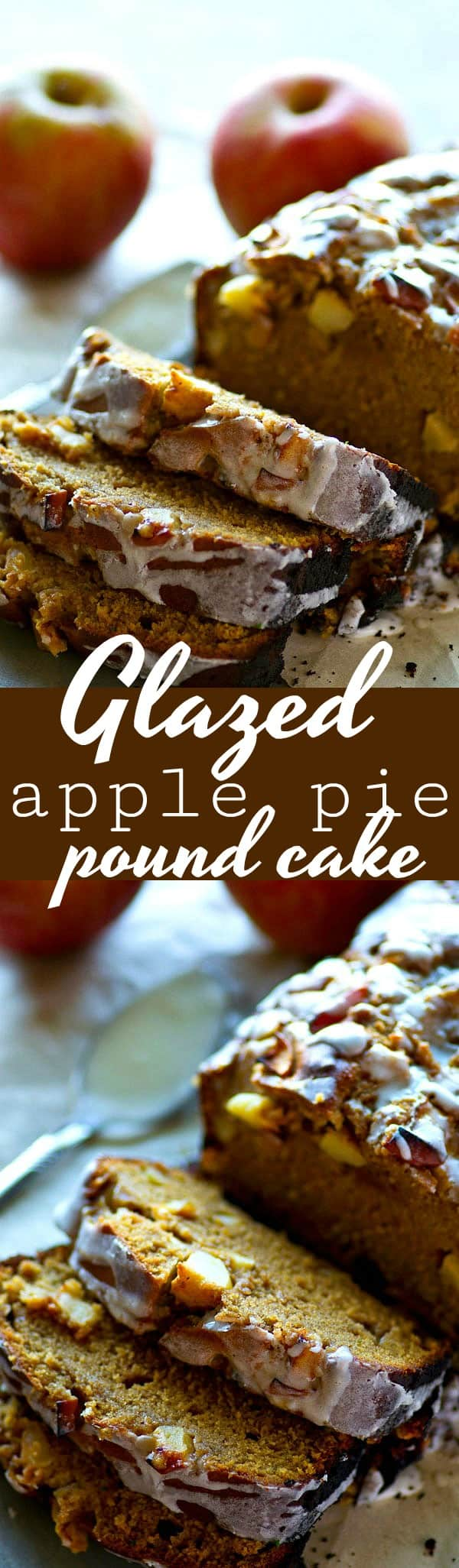 This glazed apple pie pound cake is SUPER soft inside, loaded with tons of tender apples and spices, and drizzled with lots of vanilla glaze. --- your new favorite fall cake!