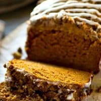 Covered in a buttery streusel topping and tons of coffee glaze, this ultimately-moist pumpkin bread is going to quickly become your new fall favorite!