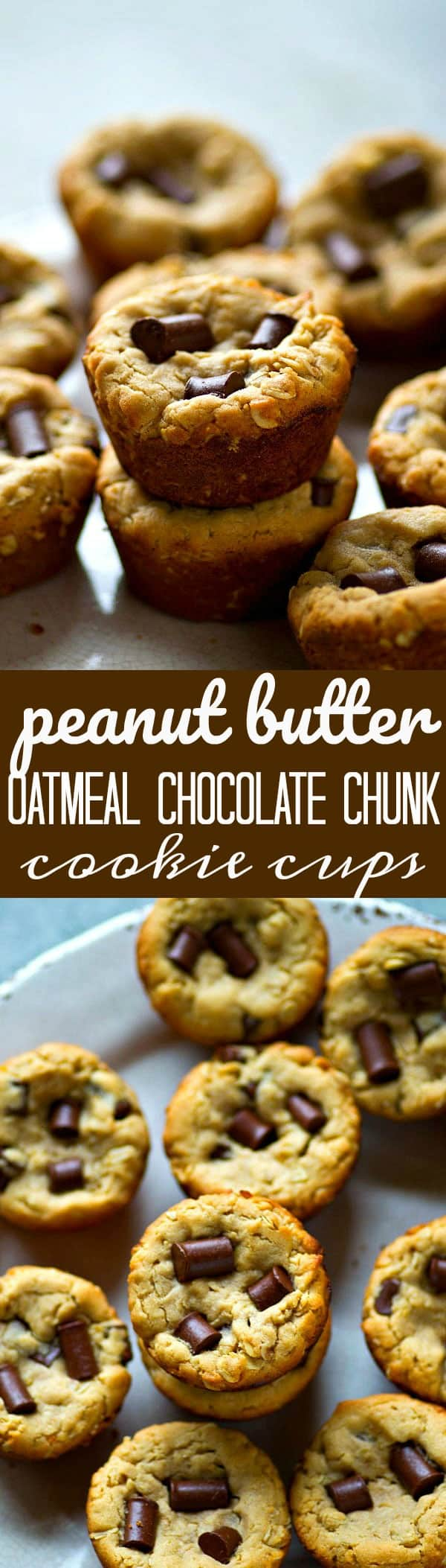 Peanut butter, oatmeal, and chocolate chunks are a killer trio in these SUPER soft and chewy oatmeal chocolate chunk cookie cups! You won't be able to stop at only one.