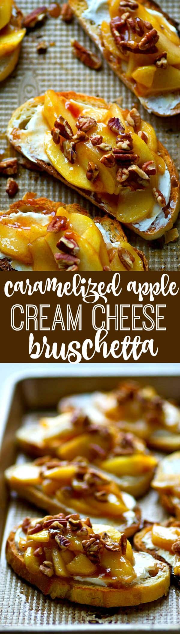 Sweet 'n' spiced caramelized apples piled high on top of cream cheese and crisp french bread is a match made in HEAVEN in this gorgeous cream cheese bruschetta!