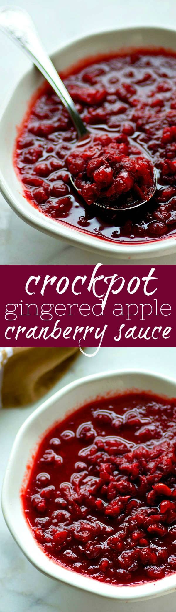 Make your cranberry sauce this Thanksgiving the easy way! This gingered apple cranberry sauce makes itself entirely in the crockpot and it's packed with sweet 'n' spicy ginger flavors.