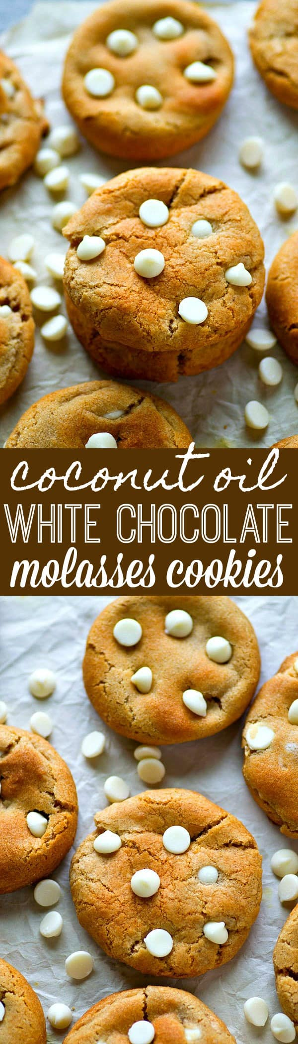 The SOFTEST and chewiest molasses cookies you'll ever have in your life! Coconut oil is the secret ingredient in these addicting white chocolate molasses cookies.