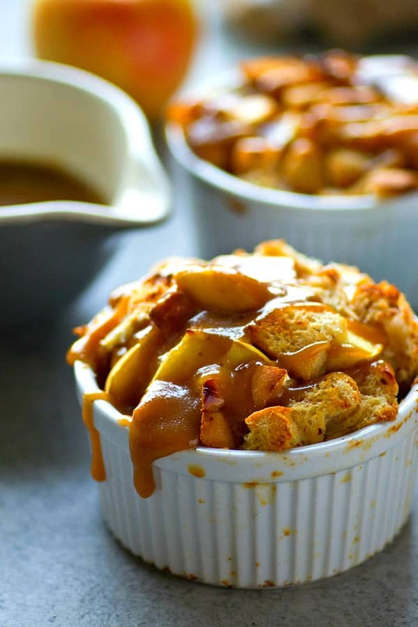 French toast made SO easy and personal-sized! This caramel apple french toast bake is made the night before for ultimate ease the next morning! The secret is in the homemade caramel sauce.