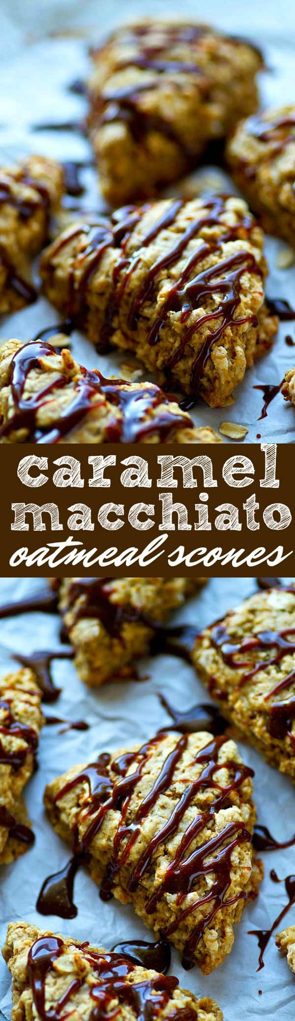 Any caramel macchiato fan is going to go crazy over these bakery-style scones! Soft and flaky oatmeal scones are drizzled with a homemade salted caramel sauce for the ultimate coffee shop indulgence!