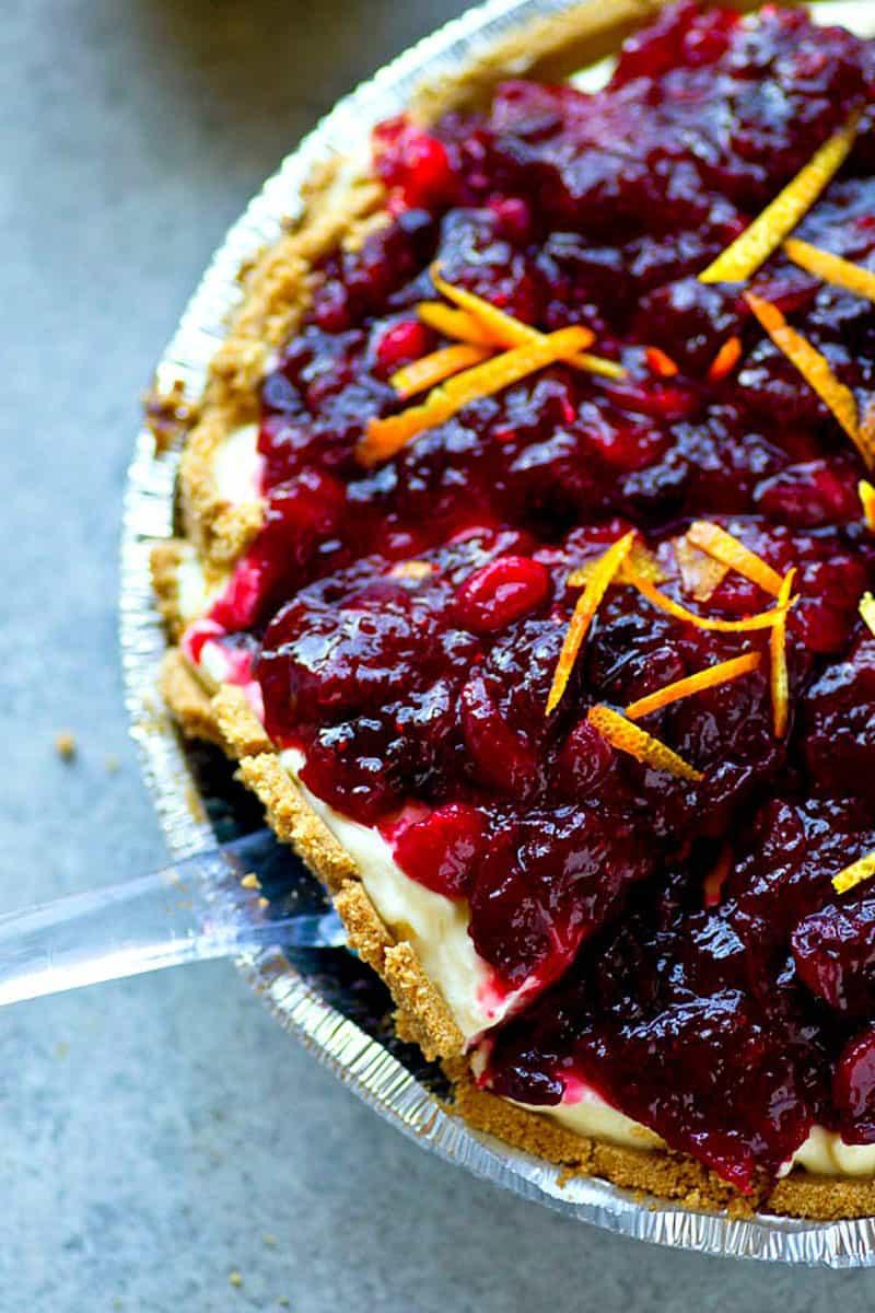 Cranberry Orange Cheesecake Pie