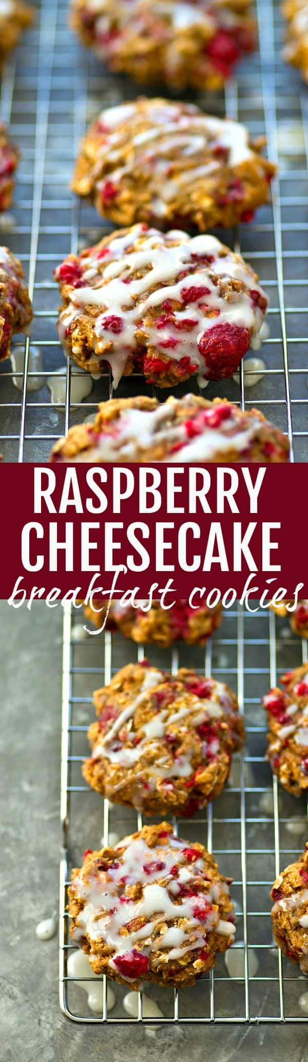 Raspberry cheesecake meets breakfast cookie! These soft and chewy breakfast cookies are jammed full of juicy raspberries and covered in a tangy cream cheese glaze.