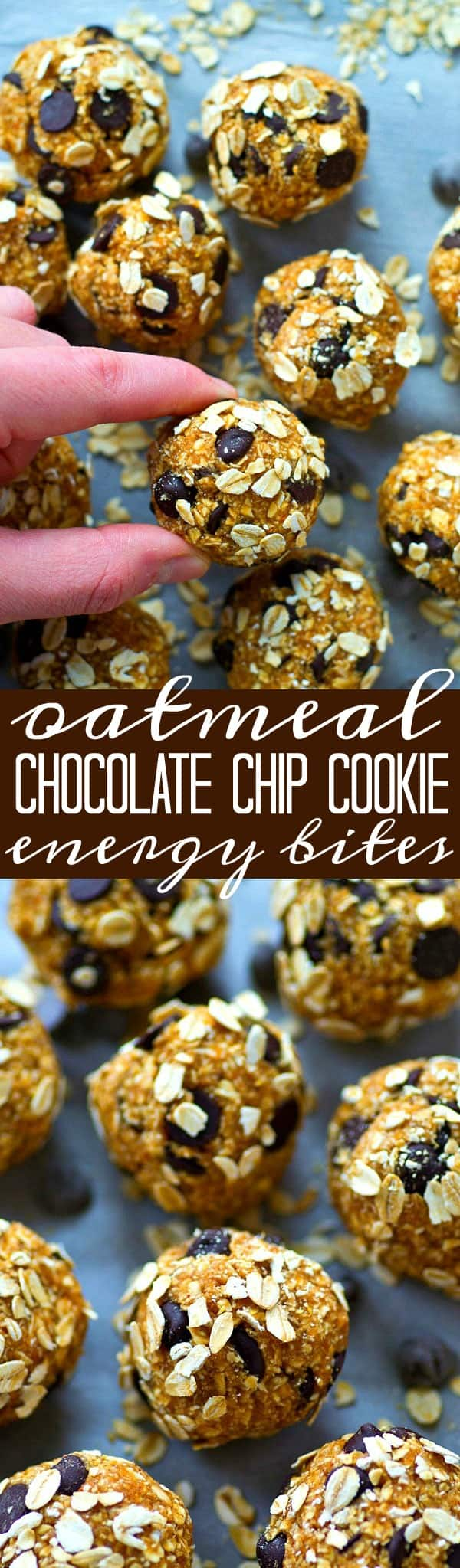 Everything you love about oatmeal chocolate chip cookies are wrapped up in these healthy and nutrition-packed energy bites! Make them in minutes with only a handful of ingredients.