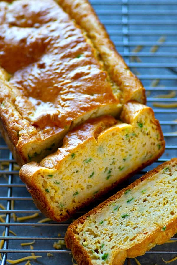 Kickin' jalapeno and tons of cheesy goodness make this simple cheddar quick bread impossible to stop eating! It's the perfect chili sidekick.