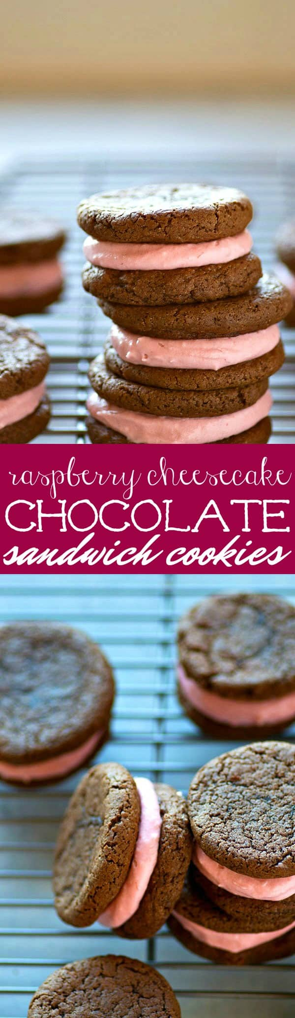 Silky raspberry cheesecake frosting is sandwiched between brownie-like chocolate cookies and the rest is history. These chocolate sandwich cookies are incredibly easy to make and so gorgeous!