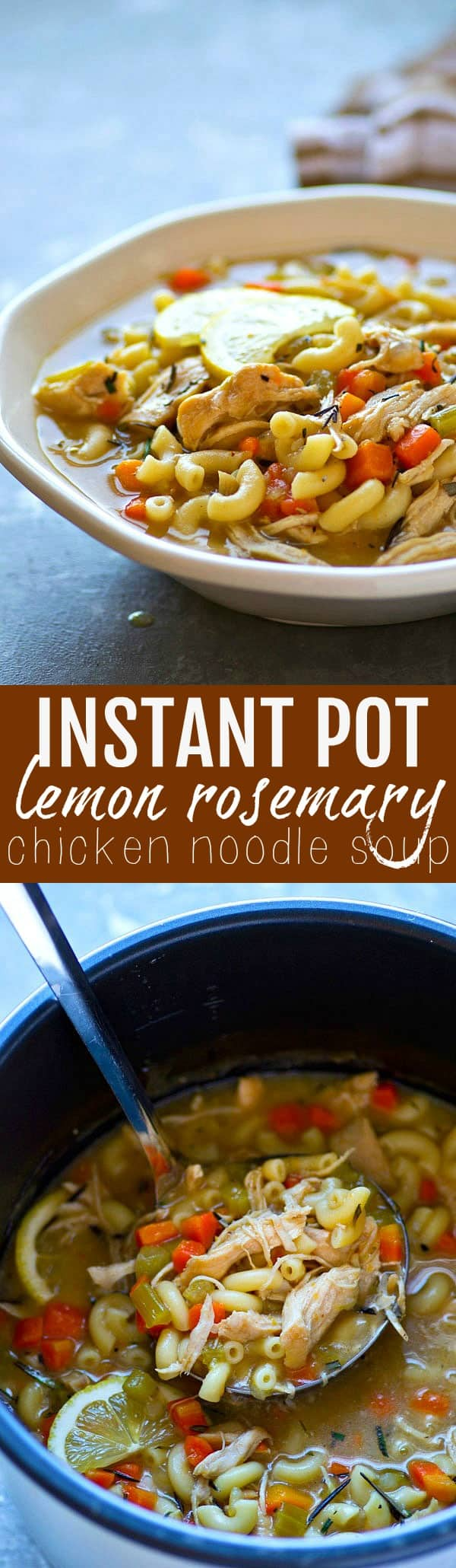 Classic comfort food chicken noodle soup is jazzed up with the flavorful combo of lemon and rosemary and the whole thing is made entirely in your instant pot in only 20 minutes!