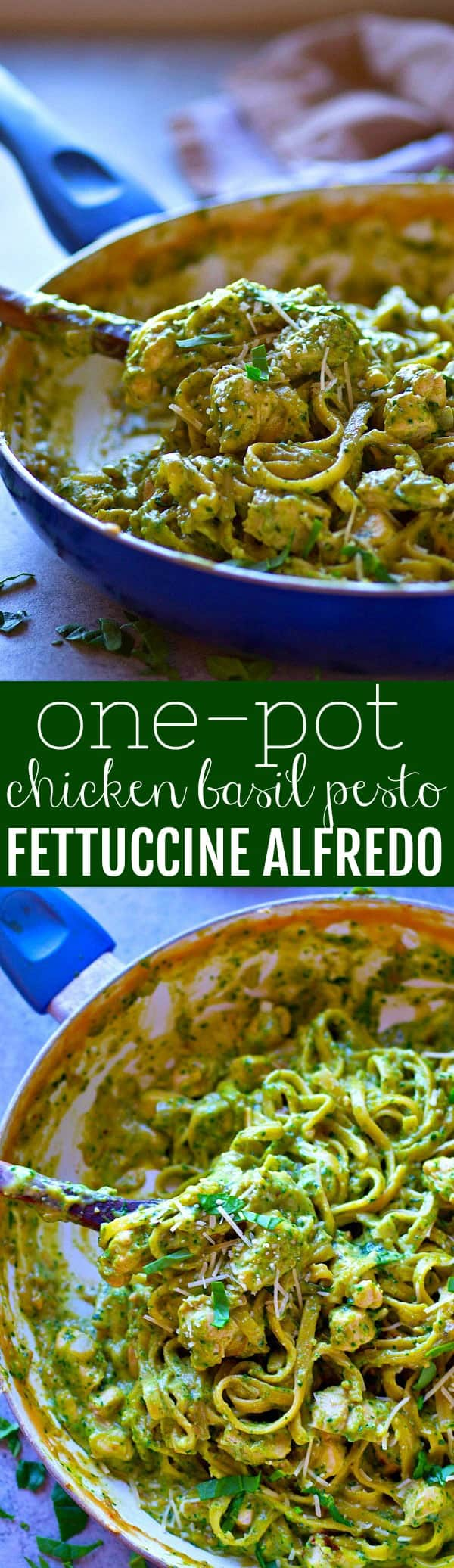 Creamy, flavorful chicken basil pesto fettuccine alfredo is made ENTIRELY in one pot in only 30 minutes and this one will quickly become your new favorite way to eat fettuccine alfredo!