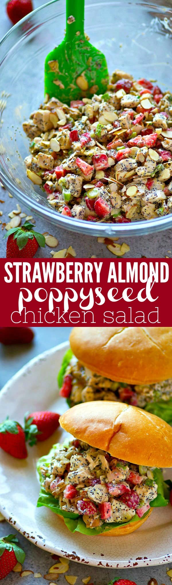 Juicy strawberries and crunchy almonds and poppyseeds make for the BEST trio in this gorgeous and incredibly easy strawberry almond poppyseed chicken salad! Perfect for any spring gathering.
