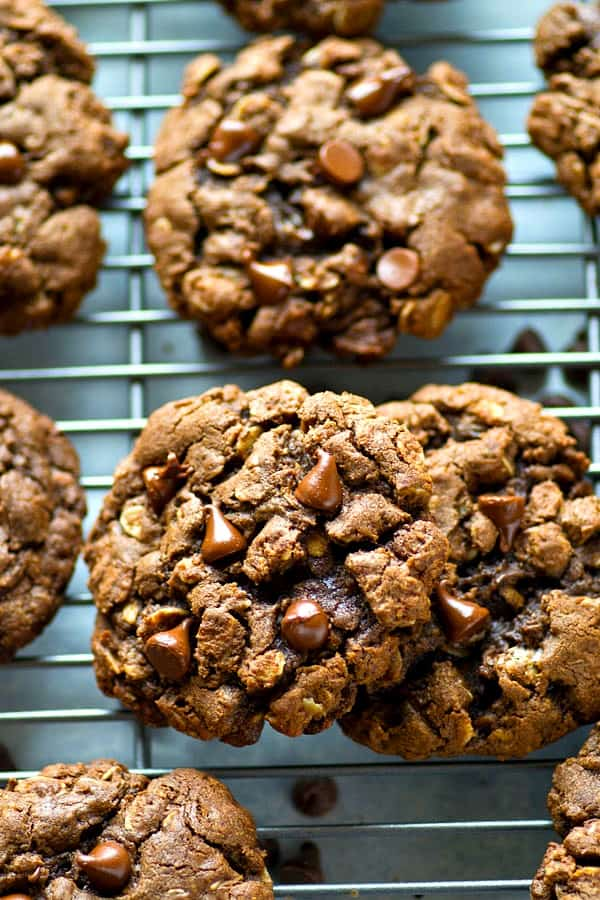 Double the amount of chocolate and INCREDIBLY soft and chewy, these double chocolate oatmeal cookies are crazy addicting and everyone who tries them will beg for the recipe!