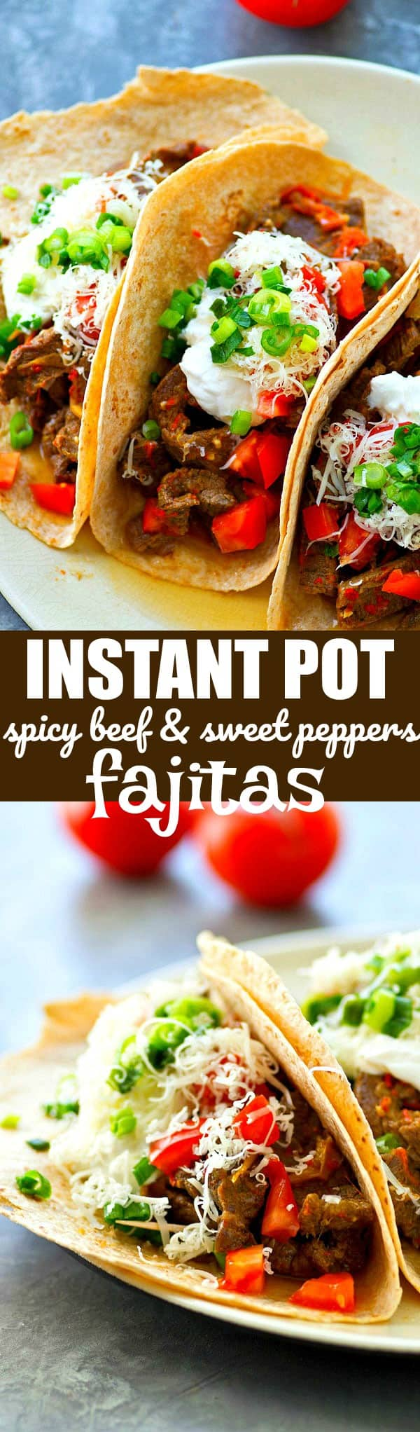 Made in under 25 minutes and incredibly flavorful and tender, these instant pot spicy beef and sweet peppers fajitas are so easy and so good, they'll instantly become a dinner regular!