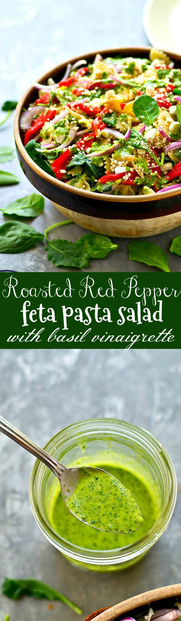 Flavorful roasted red peppers and feta are tossed with a fresh basil vinaigrette to create this gorgeous roasted red pepper feta pasta salad perfect for any spring or summer gathering!