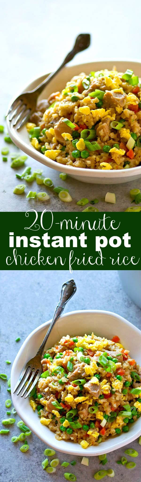 Classic, restaurant-style chicken fried rice made in only TWENTY minutes entirely in the instant pot! This one will quickly become a dinner staple.