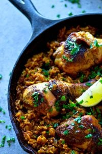 Made in one pot and in only 30 minutes, this spanish chicken and rice skillet is jam-packed with juicy chicken legs and tons of spicy fluffy rice.---the secret is in the homemade spice rub!