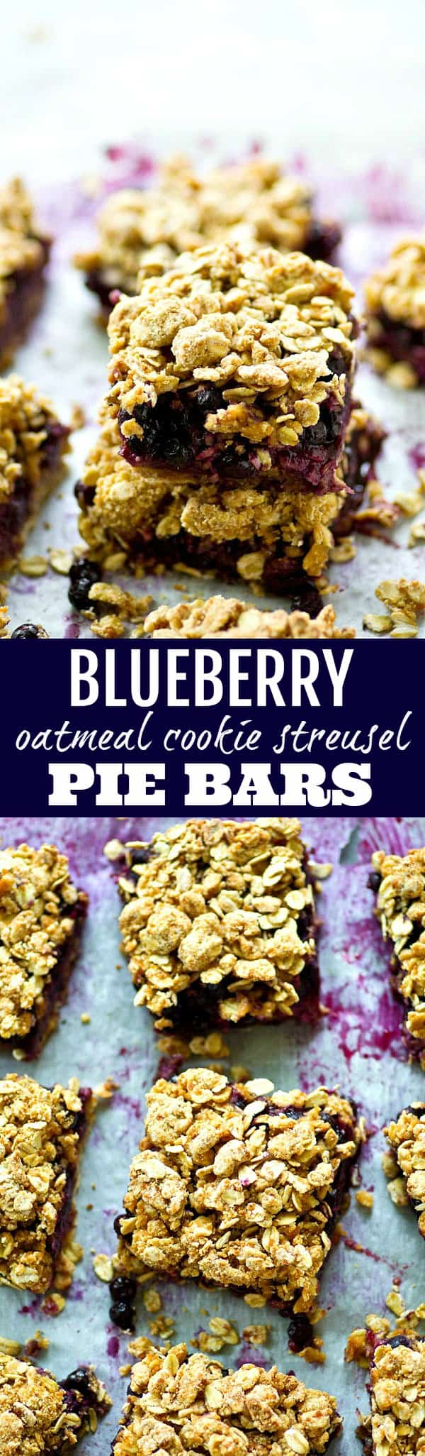 A juicy blueberry filling and oatmeal cookie-like streusel topping makes these blueberry oatmeal cookie streusel pie bars a perfect no-fuss summer dessert, snack, or even breakfast!