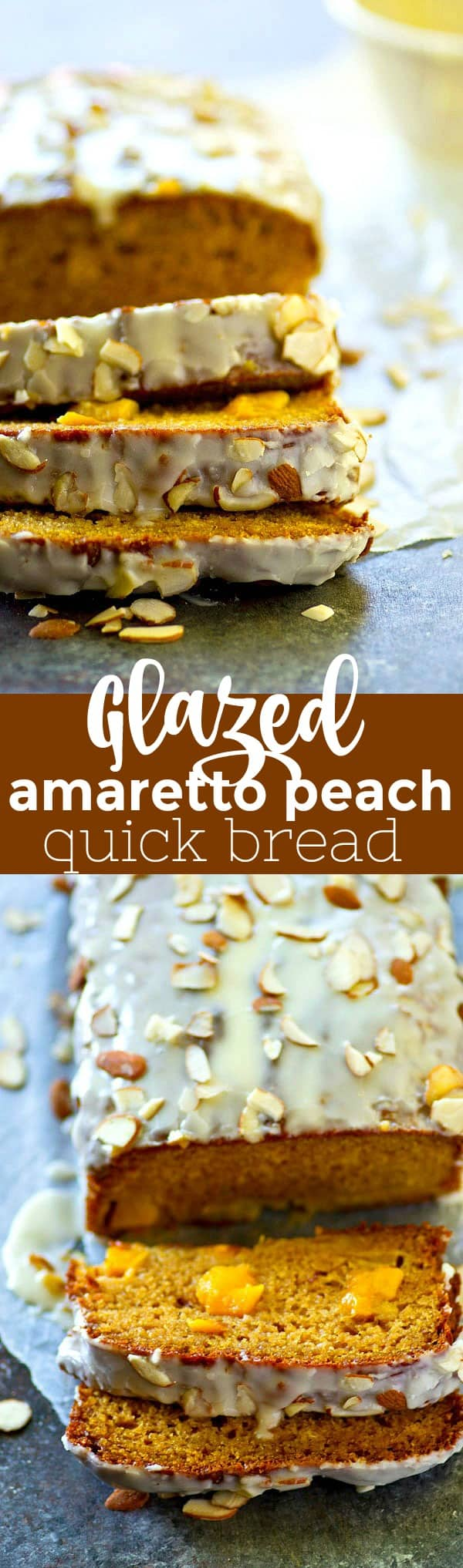 Fresh peaches and amaretto are a match made in heaven in this SUPER-soft glazed amaretto peach quick bread! Perfect way to use up those summer peaches.