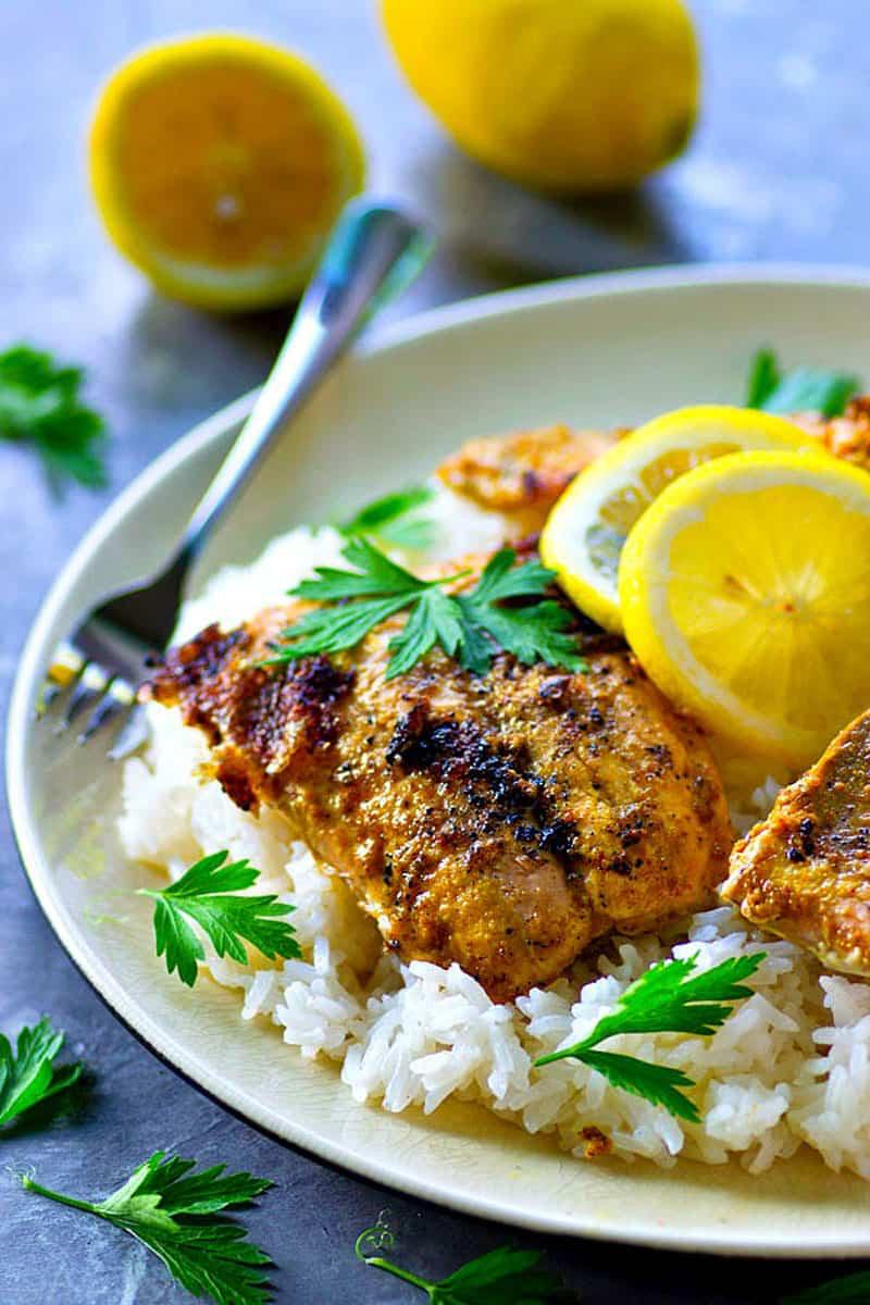 Tandoori Grilled Salmon with Lemon Basmati Rice