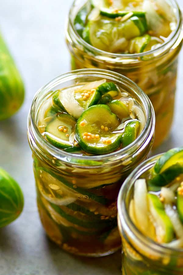 These overnight refrigerator bread and butter pickles are made ENTIRELY in the fridge overnight and you won't believe the amazing sweet, tangy flavors that develop. Make a big batch!