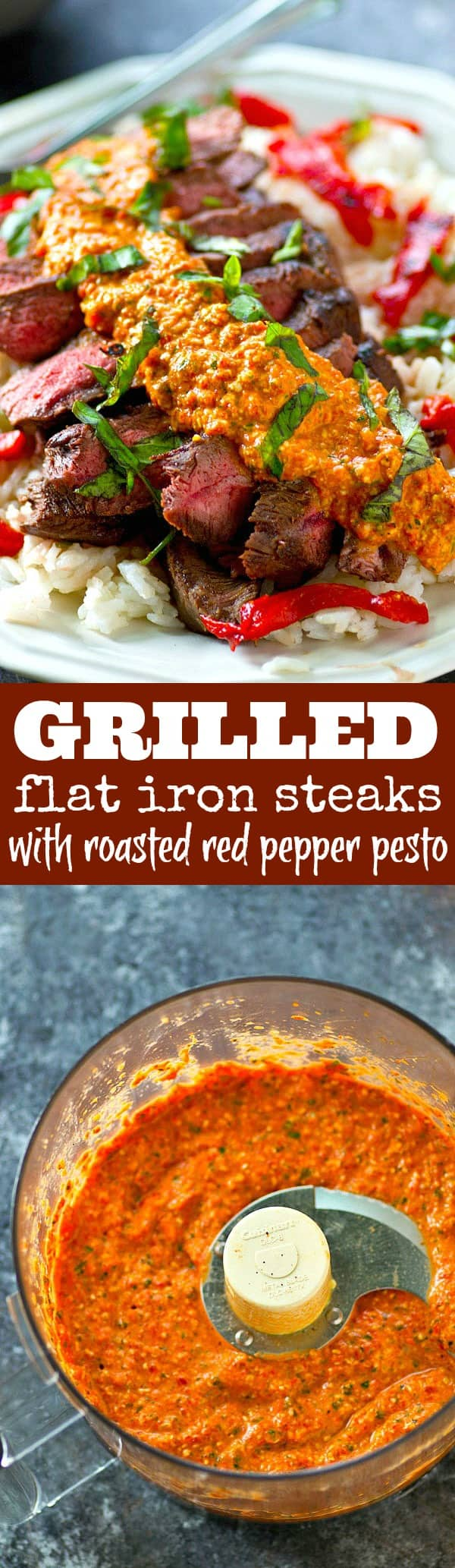 Juicy grilled flat iron steak cooks up to perfection within minutes on the grill and a roasted red pepper pesto drizzled on top pumps up the flavors to max!