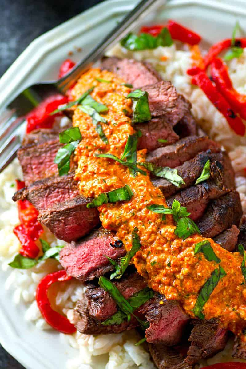 Grilled Flat Iron Steak With Roasted Red Pepper Pesto