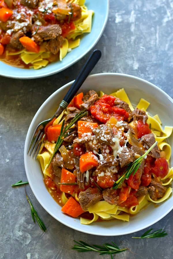 Super flavorful red wine beef ragu is made entirely in the instant pot in only THIRTY minutes! The beef is so incredibly tender it tastes like it was simmering all day.