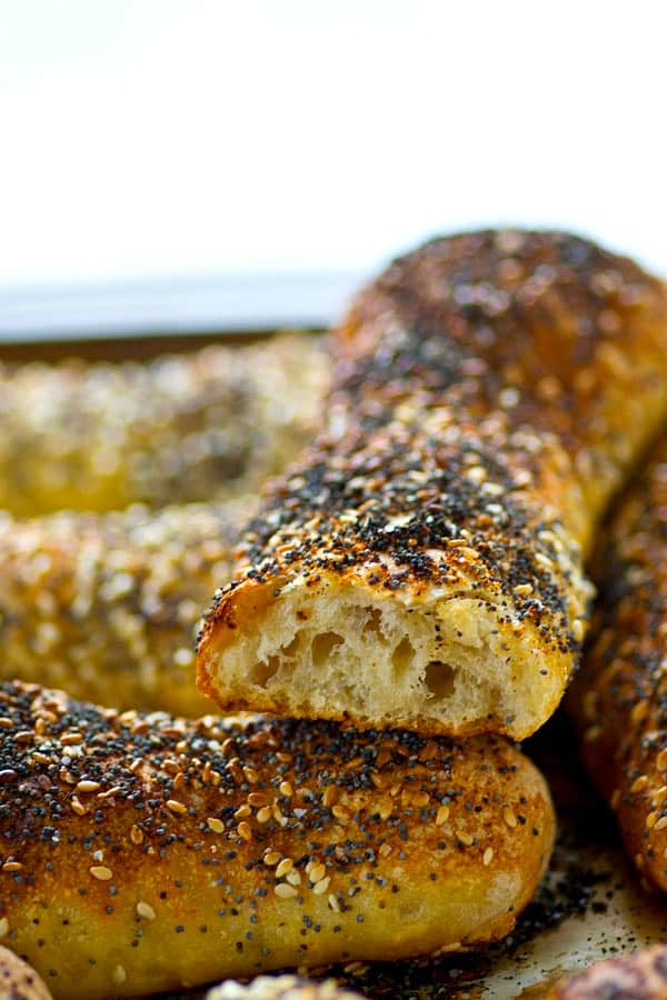 Everything bagel-lovers are going to fall in LOVE with these soft everything bagel breadsticks! The dough is no-knead and made conveniently overnight for easy baking the next day.