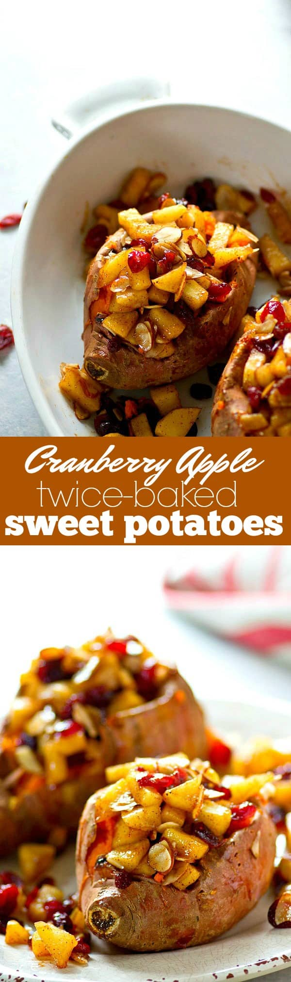 Stuffed with sweet caramelized apples and cranberries, these twice-baked sweet potatoes are a SUPER easy Thanksgiving side and so much better than any casserole!