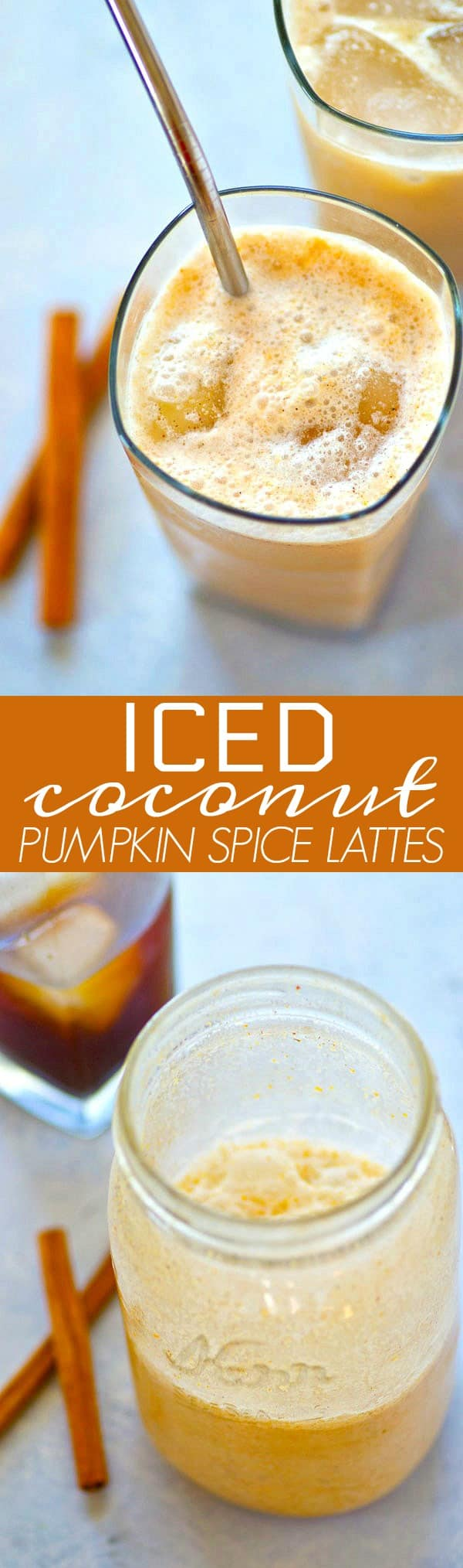 Packed with a punch of pumpkin spice flavors and refreshing coconut milk, these iced coconut pumpkin spice lattes are SUPER easy to make and a unique twist from the Starbucks classic!