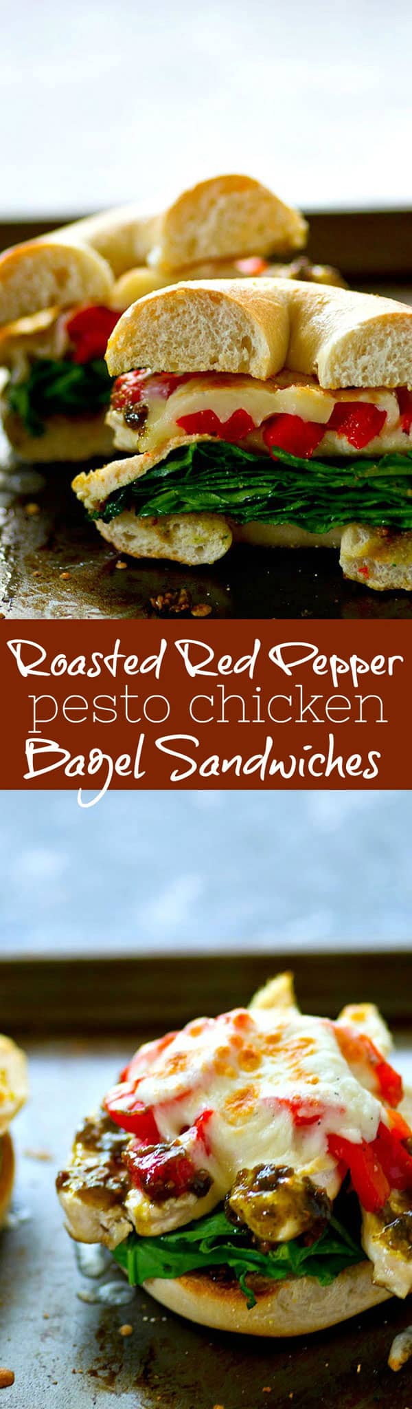 Never spend money on a bagel sandwich again! These roasted red pepper pesto chicken bagel sandwiches are packed with SO much flavorful goodness and the easiest grab-and-go lunch!