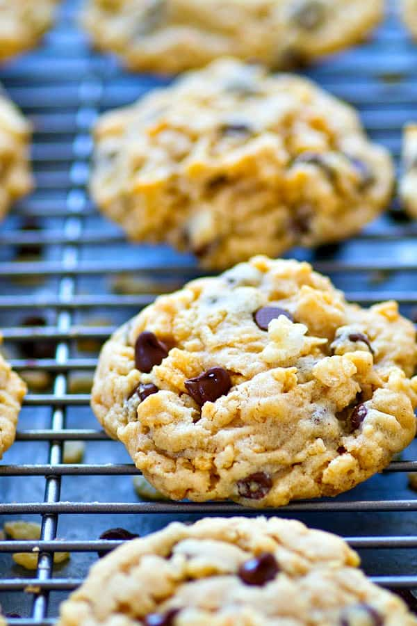 Creamy peanut butter, gooey chocolate, and crunchy rice krispy cereal are an INCREDIBLE trio in these crisp, chewy chocolate chip cookies! You won't believe the amazing texture.
