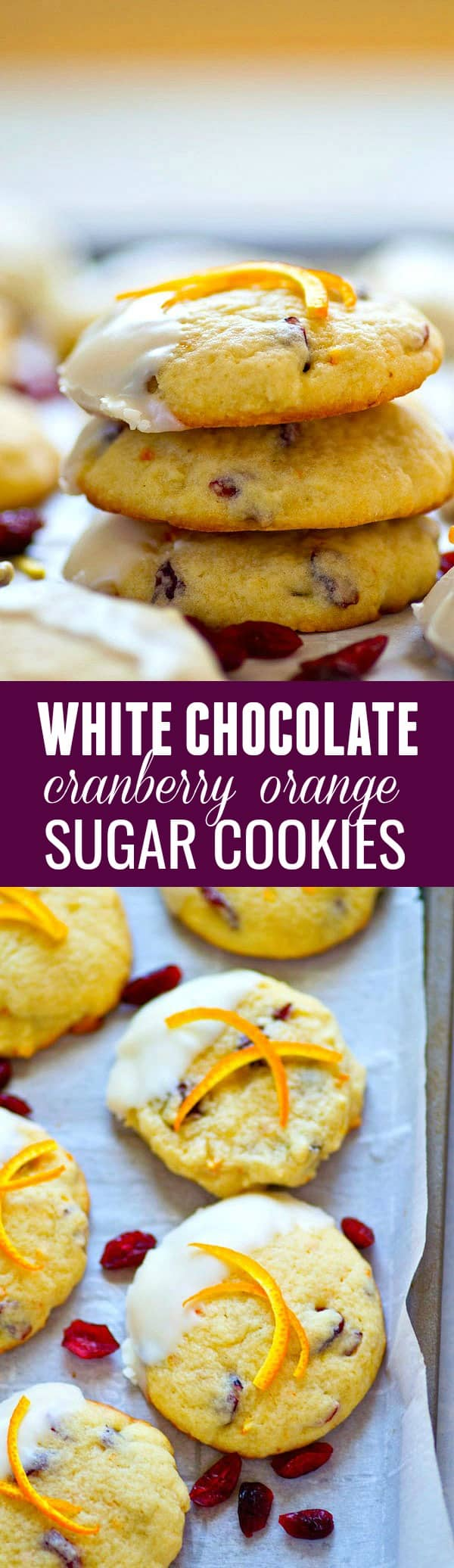 These white chocolate-dipped cranberry orange sugar cookies are the most festive cookie to include on your cookie line-up! The trio of cranberries, orange, and white chocolate is unbeatable!