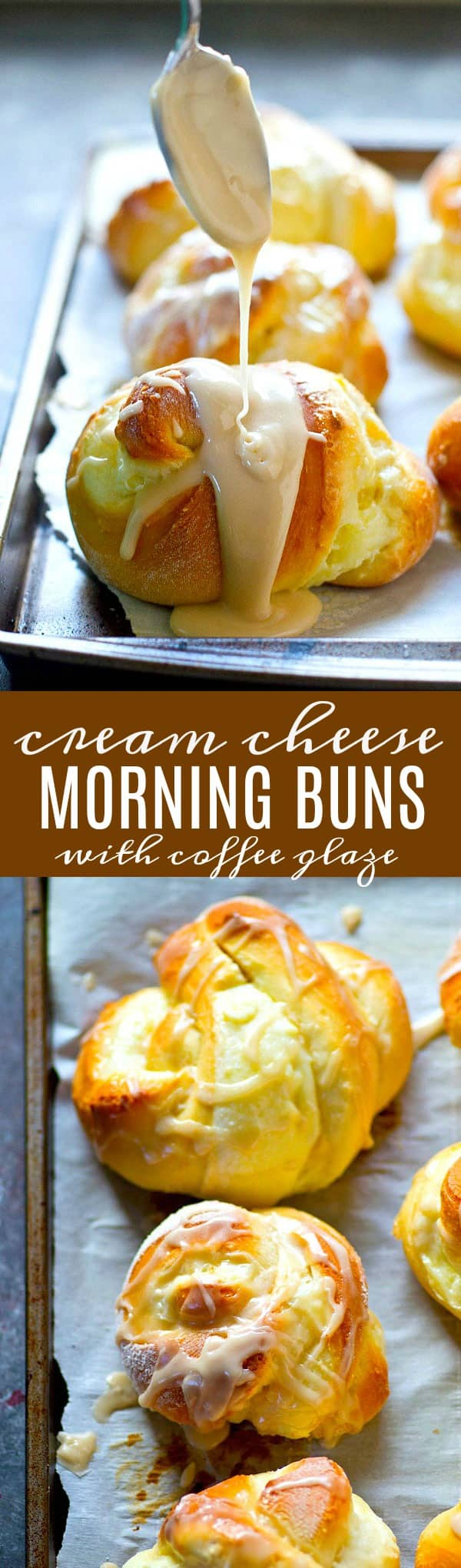 Swirled with a luscious cream cheese filling and drizzled with tons of coffee glaze, these cream cheese morning buns are the best holiday breakfast you'll ever wake up to!