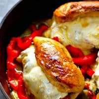 Chicken breasts are stuffed with flavorful roasted red peppers, gooey mozzarella cheese, and fresh baby spinach for the easiest twist on stuffed chicken!