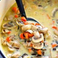 Incredibly creamy and cozy chicken mushroom wild rice soup comes together in minutes and it'll become an INSTANT winter soup favorite!