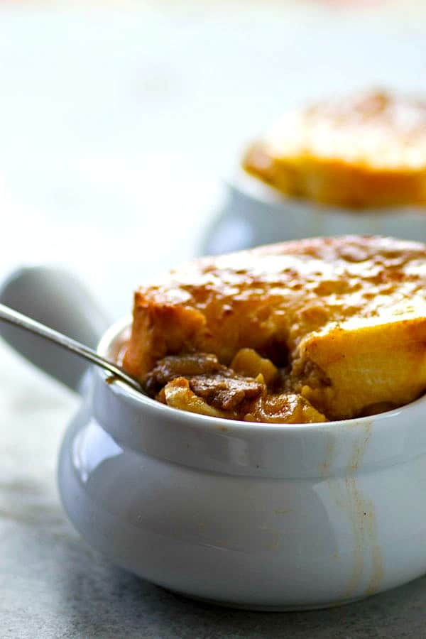 Packed with all the cozy flavors you love about french onion soup, this steak potato french onion soup is a hearty twist on the classic and total comfort food!