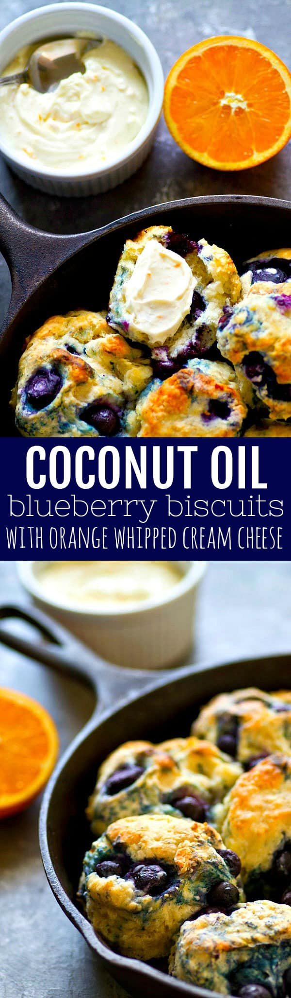 Coconut oil blueberry biscuits are tender, flaky, and exploding with juicy blueberries! Slather them up with orange whipped cream cheese hot out of the oven for the ultimate breakfast!