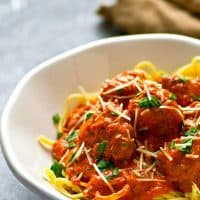 Incredibly tender red wine marinara meatballs are made entirely in the instant pot in less than 30 minutes and they taste like they simmered all day!