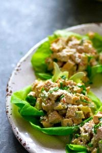 Zingy chipotle and lime are the perfect flavor duo in these flavor-packed chicken avocado lettuce wraps! PERFECT for a make-ahead and low-calorie lunch option!