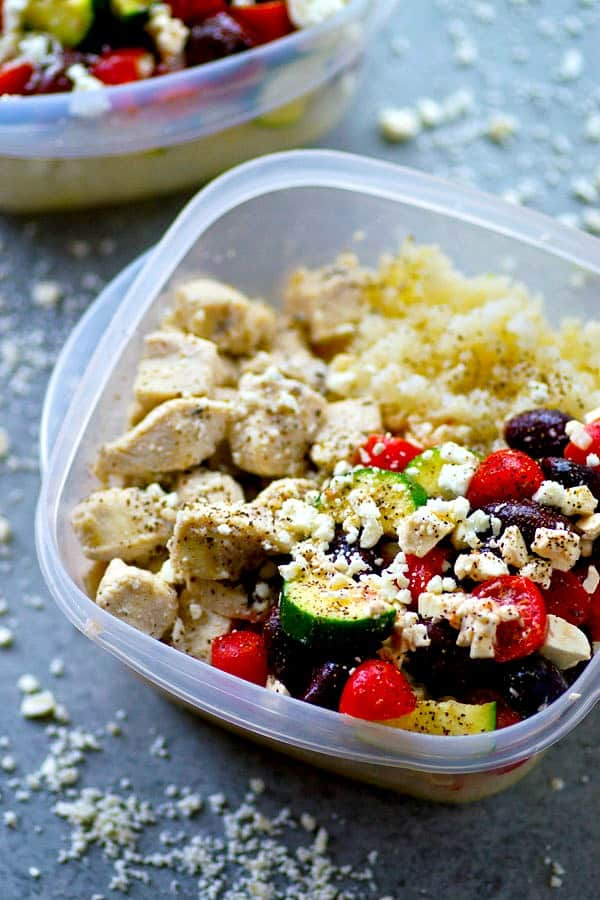 Light on the calories and piled high with all the Greek fixins', these meal prep Greek chicken cauliflower rice bowls are perfect for meal prepping healthy dinners for the week!