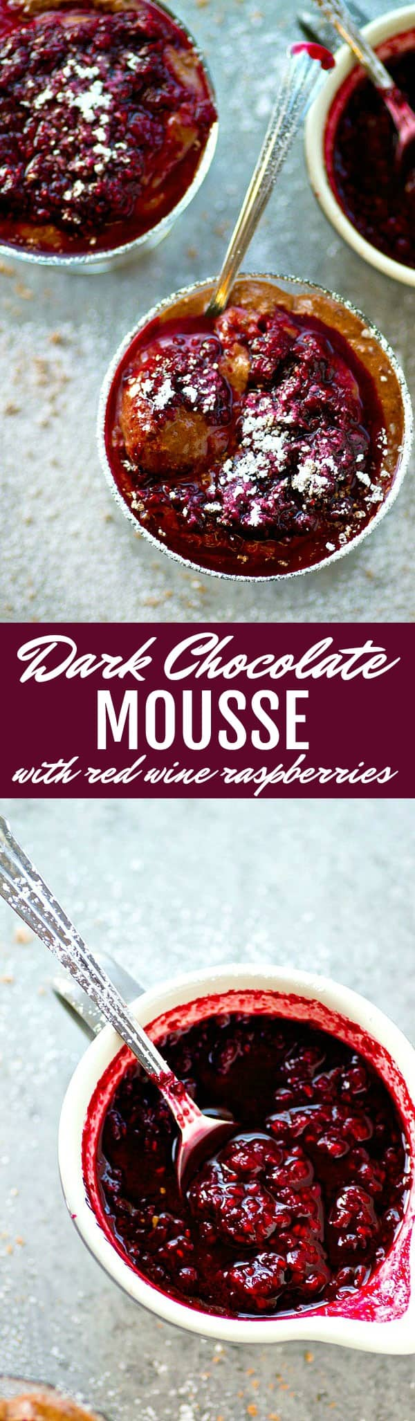 Dark chocolate mousse and a luscious red wine raspberry sauce are a match made in heaven in this stunner dessert. Perfect for a romantic dessert or whenever that chocolate craving hits!