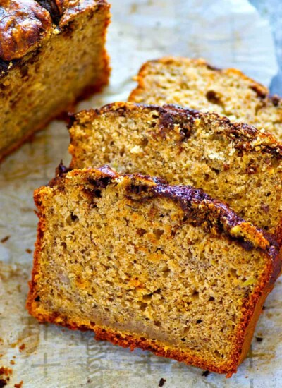 Insanely soft banana bread is livened up with creamy peanut butter and a luscious swirl of mocha.--the only way you're gonna want banana bread from now on!