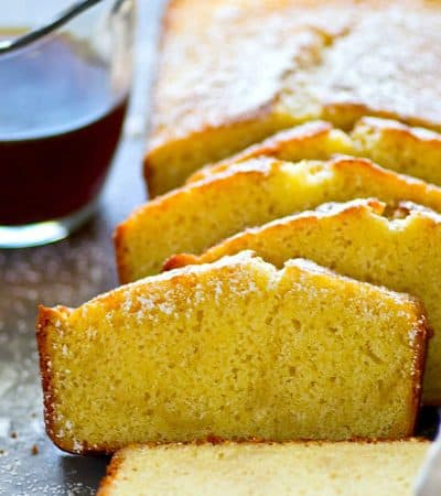 Classic buttery pound cake is transformed into a coffee-lover's dream! This gorgeous espresso pound cake hits the spot with a fresh brew of coffee.
