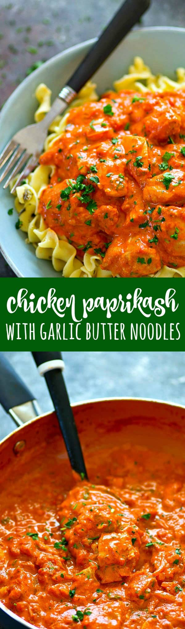 Authentic chicken paprikash is SO easy to make at home and better than any restaurant! Serve this hearty chicken paprikash over huge piles of garlic butter noodles.
