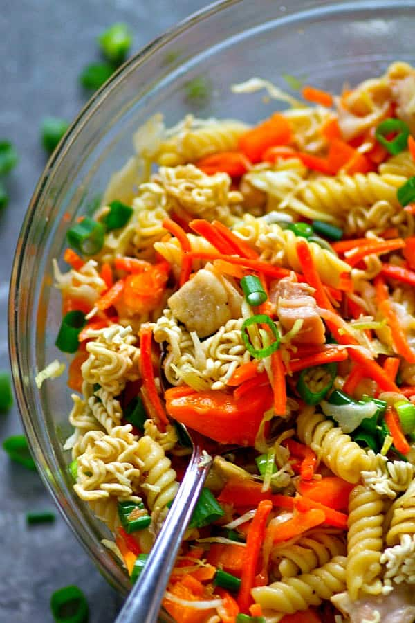 Loaded with zingy Asian flavors and SO full of fresh goodness, this Asian chicken crunch pasta salad has an INSANE crunch texture you will be obsessed with!